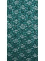 Çiçek Desenli ve Petrol Yeşil Payetli Kordoneli Dantel Kumaş - K9201