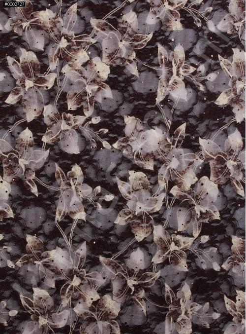 Kahve Kemik Dantel Üzeri Payetli Abiyelik Kumaş - K9203
