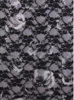Siyah Beyaz Dantel Üzeri Seyrek Payetli Kumaş - K9206