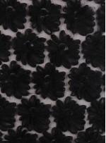Çiçek Desenli 3 Boyutlu Siyah Lase Kumaş - K9215