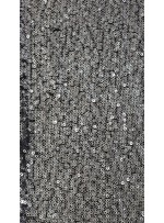 Halka Payetli Siyah - Gümüş Abiyelik Kumaş - K9239