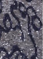 Karalama Desenli Küçük ve Büyük Payetli Antrasit Kumaş - K9256