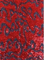 Karalama Desenli Küçük ve Büyük Payetli Kırmızı Kumaş - K9256