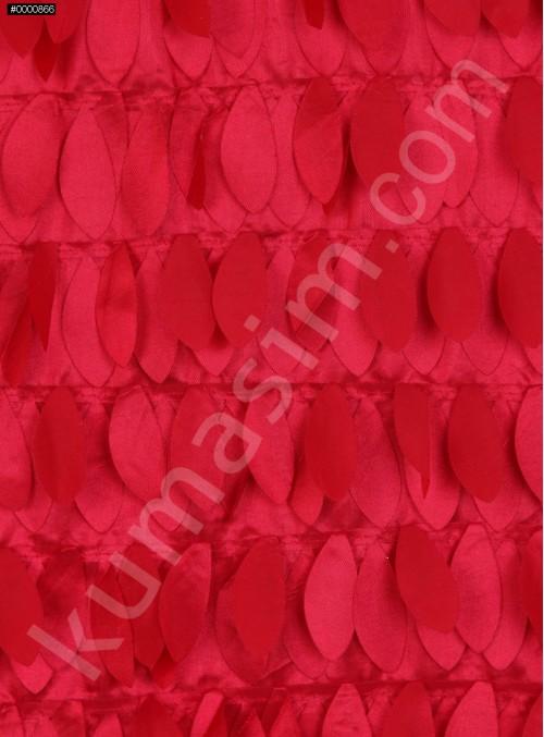 Saten Üzeri Lazer Kesim Yaprak Desenli Kumaş - Kırmızı - K9259