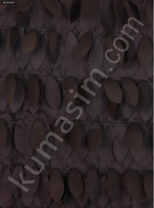 Saten Üzeri Lazer Kesim Yaprak Desenli Kumaş - Siyah - K9259