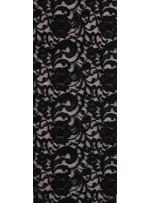 Çiçek ve Şal Desenli Dantel Kumaş - Siyah - K9271
