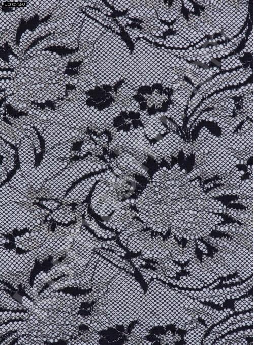Çiçek Desenli Lamine Dantel Kumaş - K9273
