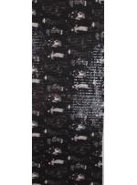 Fransız Kadın Figürlü Jarse Üzeri Şeffaf Payet Kumaş - Siyah Beyaz - K9288