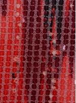 Kare Payetli Siyah ve Kırmızı Baskılı Abiyelik Kumaş - K9289