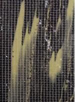 Kare Payetli Siyah ve Yeşil Baskılı Abiyelik Kumaş - K9289