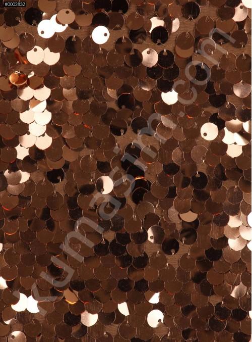 Balık Sırtı Yoğun Bakır Payetli Abiyelik Kumaş - K9292