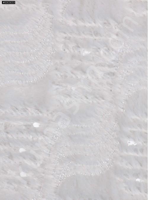 Şeffaf Payetli Kemik Kürk Kumaş - K9300