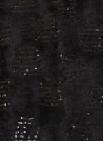 Şeffaf Payetli Siyah Kürk Kumaş - K9300
