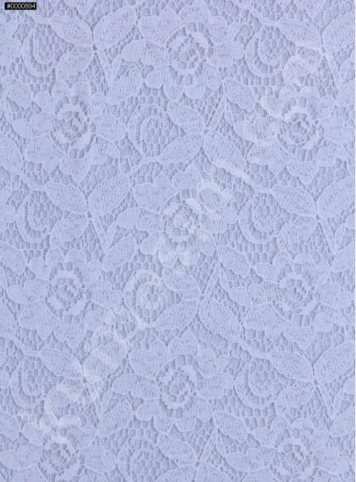 Çiçek Desenli Dantel Kumaş - Beyaz - K9301