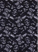 Çiçek Desenli Dantel Kumaş - Siyah - K9301