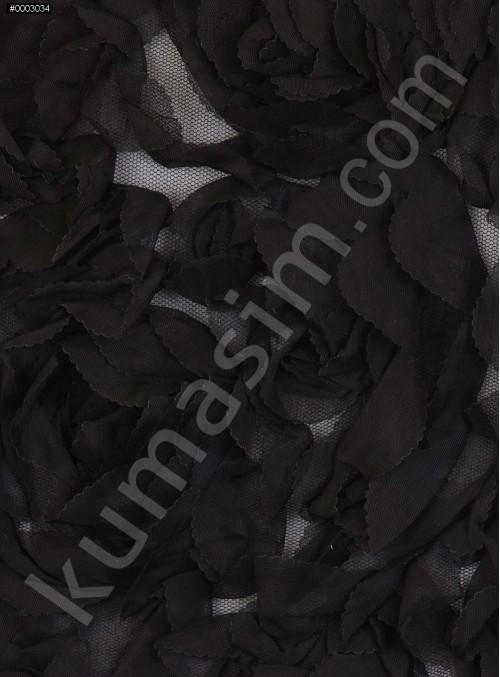 Çiçek Desenli Lazer Kesim 3 Boyutlu Siyah Lase Kumaş - K9304