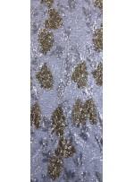 File Üzeri Çiçek Desenli Payet Kumaş - Gümüş Gold - K9307