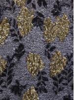File Üzeri Çiçek Desenli Payet Kumaş - Siyah Gold - K9307