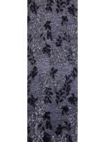 File Üzeri Çiçek Desenli Payet Kumaş - Siyah Gümüş - K9307