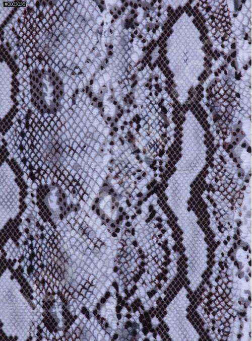 Yılan Desenli En-Boy Likralı Jarse Kumaş - Gri - K9311