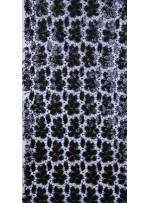 Çiçek Desenli Payetli Siyah File Kumaş - K9322