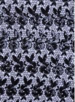 Siyah Payet İşlemeli File Kumaş - K9326