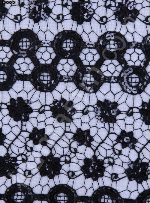 Çiçek ve Daire Desenli Payetli Siyah File Kumaş - K9330