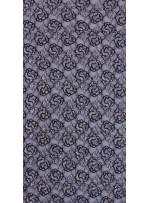 Çiçek Desenli Gümüş Simli Siyah Dantel Kumaş - K9341