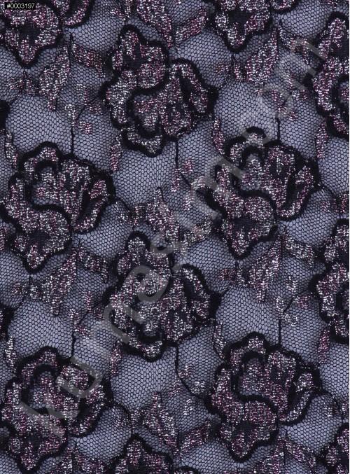 Çiçek Desenli Pembe ve Gümüş Simli Siyah Dantel Kumaş - K9341