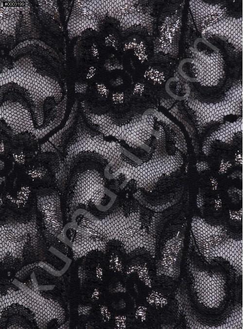 Çiçek Desenli Gümüş Simli Siyah Dantel Kumaş - K9342