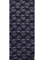 Çiçek Desenli Pembe ve Gümüş Simli Siyah Dantel Kumaş - K9342