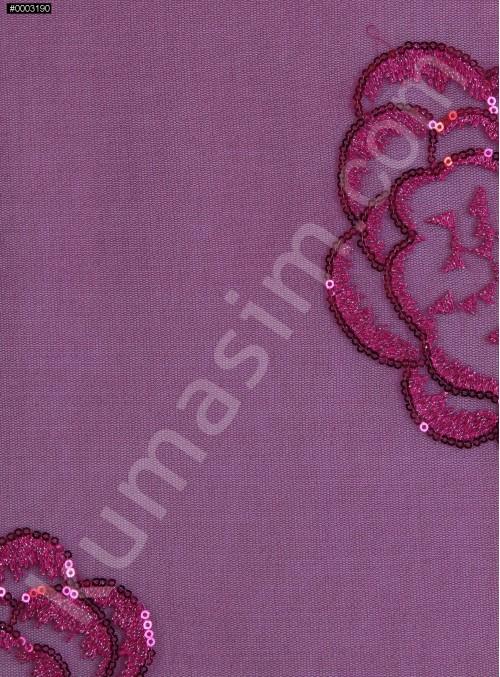 Çiçek Desenli 3 MM Payetli ve Simli İşlemeli Fuşya Kumaş - K9356