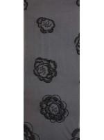 Çiçek Desenli 3 MM Payetli ve Simli İşlemeli Siyah Kumaş - K9356