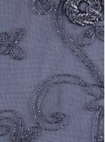 Tül Üzeri Sim İşlemeli 3 Boyutlu Gümüş Kumaş - K9357