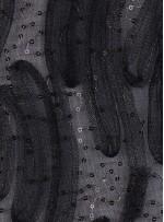 Tül Üzeri 3 MM Payetli Lazer Kesim 3 Boyutlu Siyah Kumaş - K9358