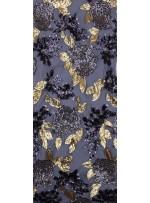Çiçek Desenli 3 MM ve 5 MM Payetli Gold-Siyah c4 Kumaş - K9365