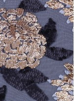 Çiçek Desenli 3 MM ve 5 MM Payetli Gold-Siyah c8 Kumaş - K9365