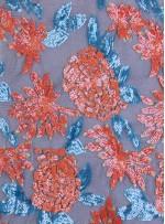 Çiçek Desenli 3 MM ve 5 MM Payetli Mavi-Turuncu c28 Kumaş - K9365