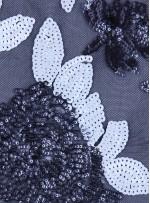 Çiçek Desenli 3 MM ve 5 MM Payetli Siyah-Beyaz c17 Kumaş - K9365