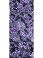 Çiçek Desenli 3 MM ve 5 MM Payetli Siyah-Mor c24 Kumaş - K9365