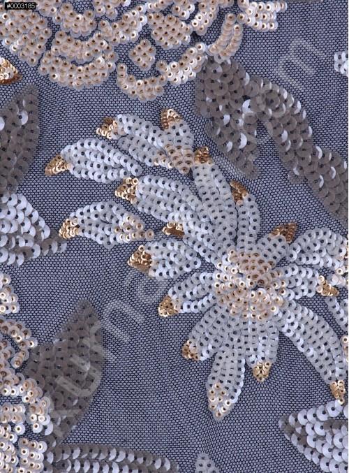 Çiçek Desenli 3 MM ve 5 MM Payetli Vizon-Gold c20 Kumaş - K9365