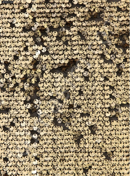 Tül Üzeri 5 mm Degrade Payet İşleme Gold Kumaş - K9377