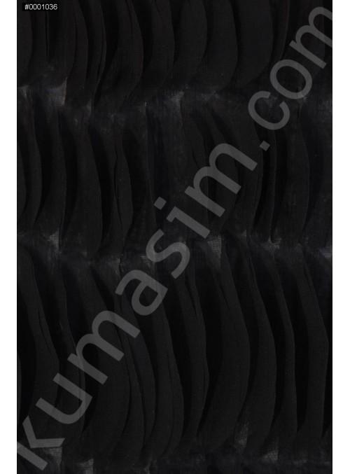 Üç Boyutlu Lazer Kesimli Siyah Lase Kumaş - K9378