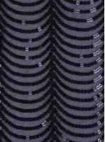 Dalga Desenli Siyah Payetli Kumaş - K9380