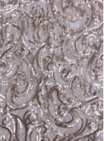 Şal Desenli Mat Gold Payetli Kumaş - K9388
