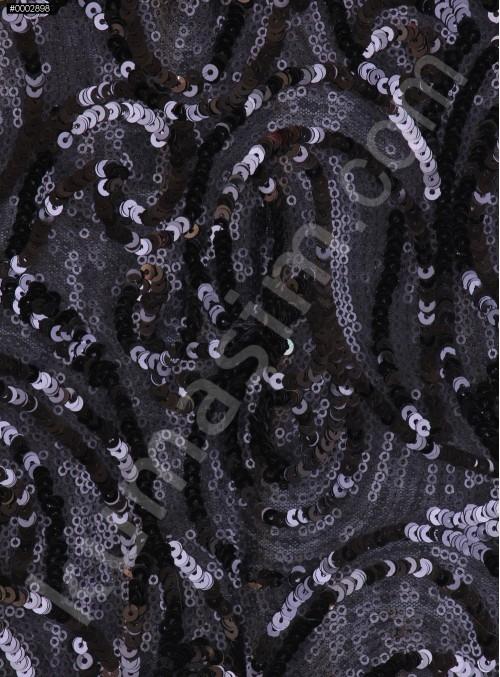 Şal Desenli Siyah Payetli Kumaş - K9388