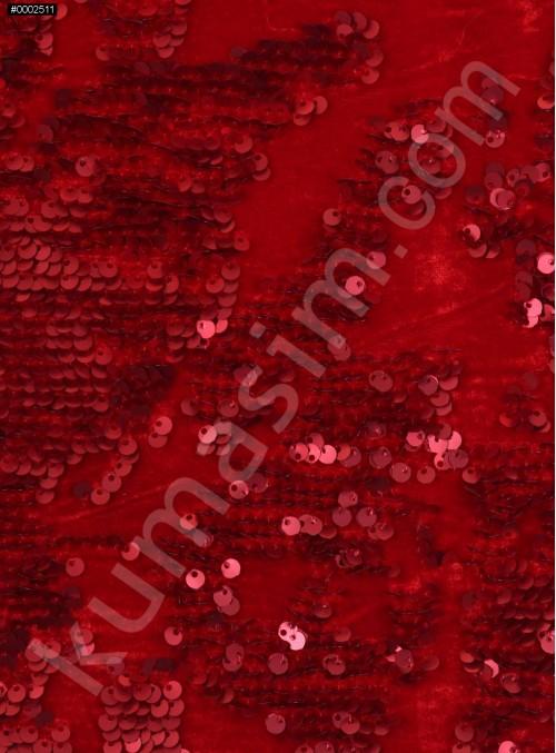 Kadife Üzeri Desenli Kırmızı Payetli Kumaş - K9391