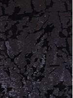 Kadife Üzeri Desenli Siyah Payetli Kumaş - K9391