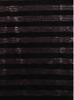Kadife Üzeri Şerit Desenli Payetli Siyah Kumaş - K9393