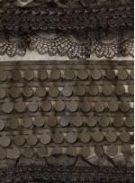 Şerit Desenli Siyah Dantel ve Deri Kumaş - K9394